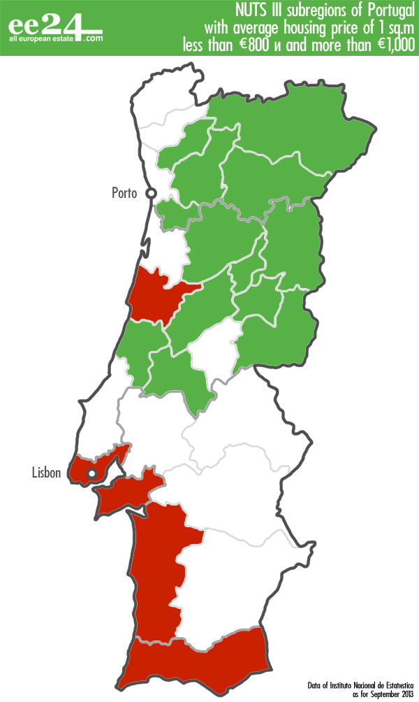 Easy To Count In Head Housing In Portugal Costs Per Sqm - Portugal map size