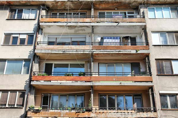 Bulgarian panel houses. 28% of people live in Soviet-era homes